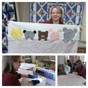Amber's baby quilt which she quilted on her new machine