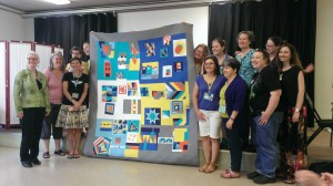 Makers whose blocks are in our first Clothworks Organic Solids Modern Block Challenge quilt