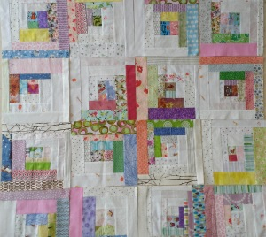 A few of Amber's log cabin blocks spotted at a Sew-In