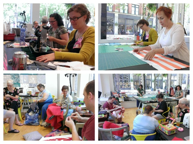 Good turnout and good quilty friends at our June sew-in at Drygoods Design